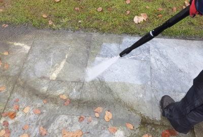 Hogedruk reinigen van natuursteen
